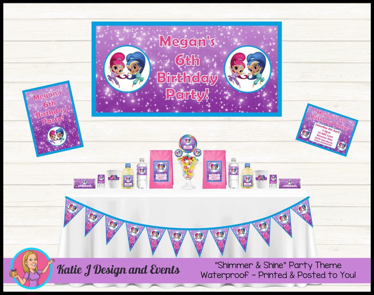 Personalised Shimmer & Shine Party Packs Decorations Supplies