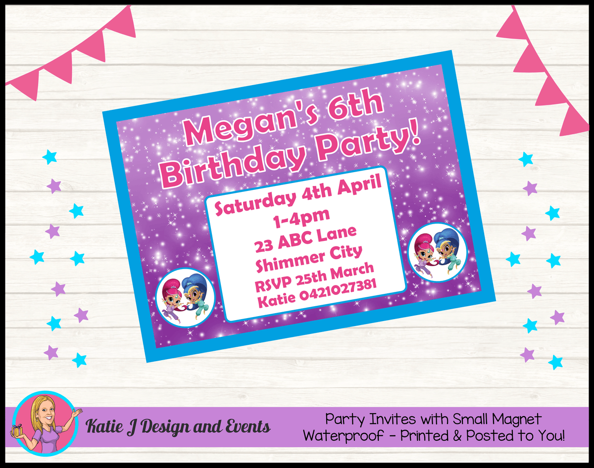 Personalised Shimmer & Shine Birthday Party Invites Invitations