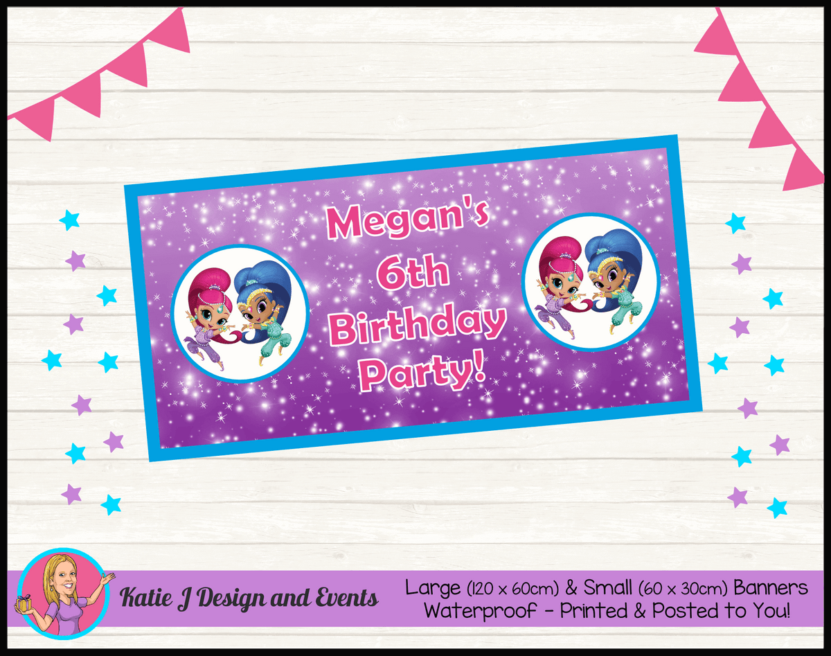 Personalised Shimmer & Shine Birthday Party Banner