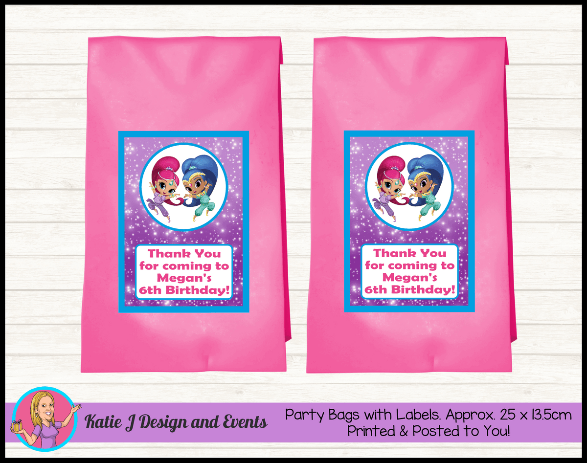 Personalised Shimmer & Shine Birthday Party Loot Bags