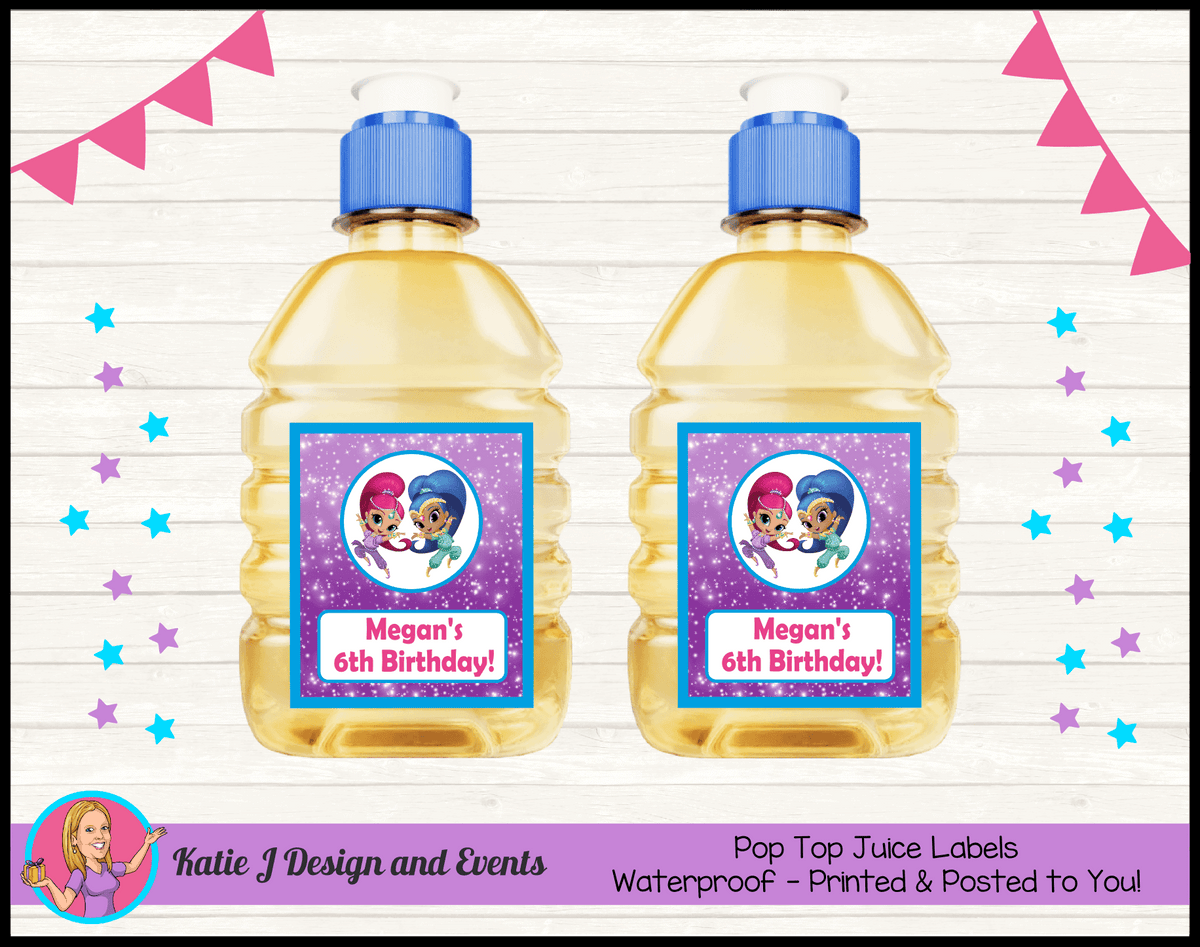 Personalised Shimmer & Shine Party Pop Top Juice Labels