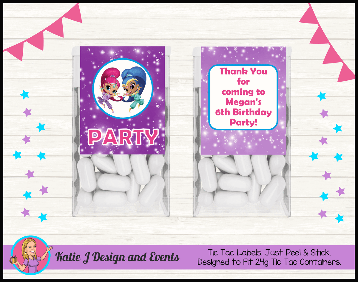 Personalised Shimmer & Shine Tic Tac Mint Labels