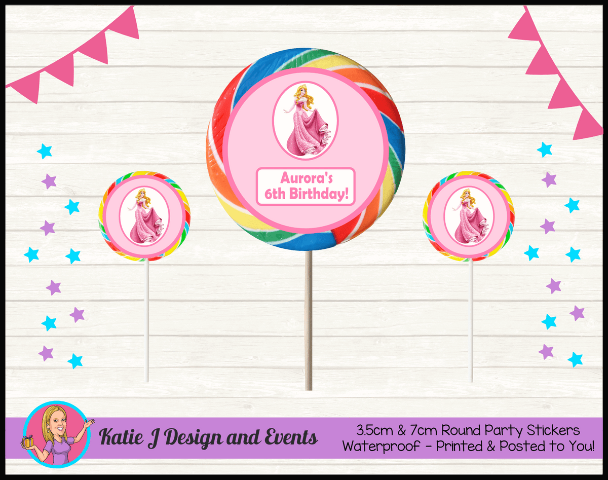 Sleeping Beauty Aurora Personalised Birthday Party Round Lollipop Stickers