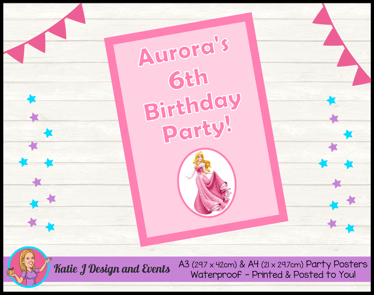 Sleeping Beauty Aurora Personalised Birthday Party Posters
