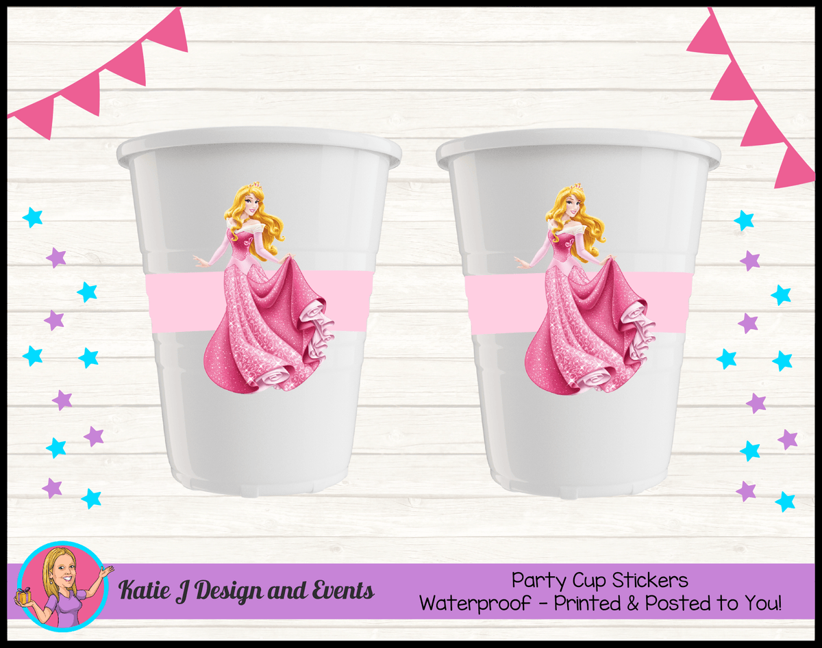 Sleeping Beauty Aurora Personalised Birthday Party Cup Stickers Cups