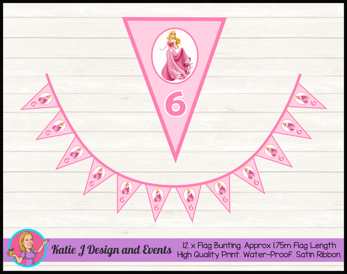 Sleeping Beauty Aurora Personalised Birthday Party Flag Bunting