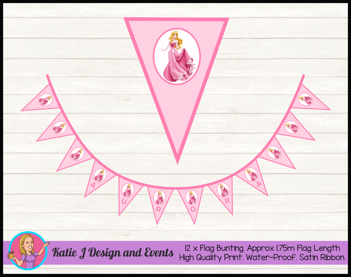 Sleeping Beauty Aurora Personalised Birthday Party Flag Bunting Name