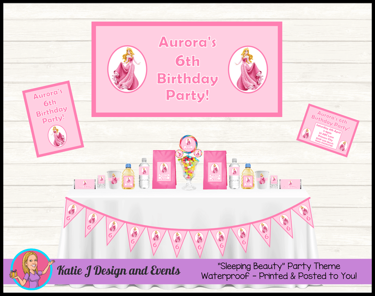 Personalised Sleeping Beauty Party Packs Decorations Supplies