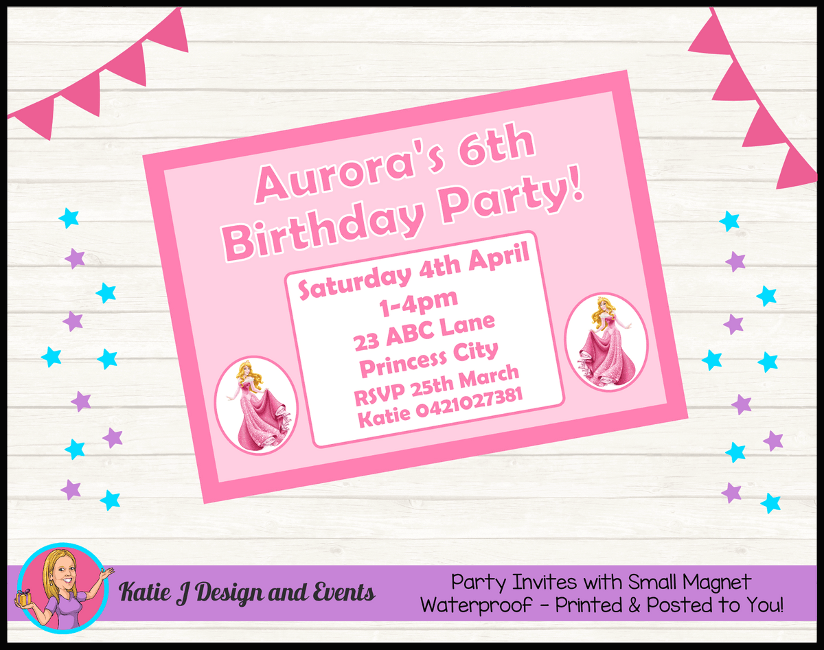 Sleeping Beauty Aurora Personalised Birthday Party Invites Invitations