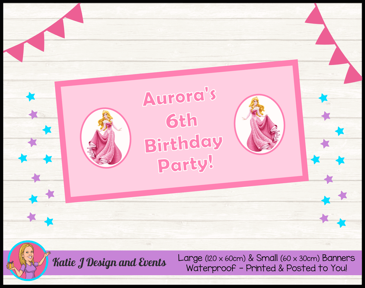 Personalised Sleeping Beauty Birthday Party Banner