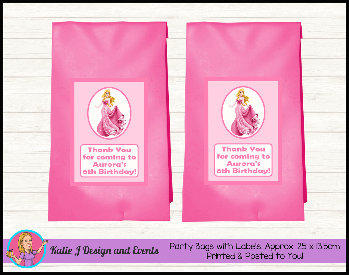 Sleeping Beauty Aurora Personalised Birthday Party Loot Bags