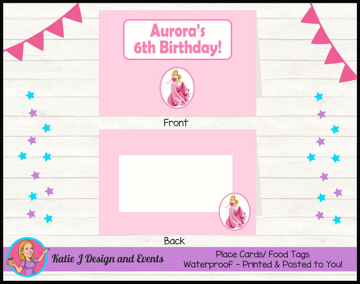 Sleeping Beauty Aurora Personalised Birthday Party Place Cards