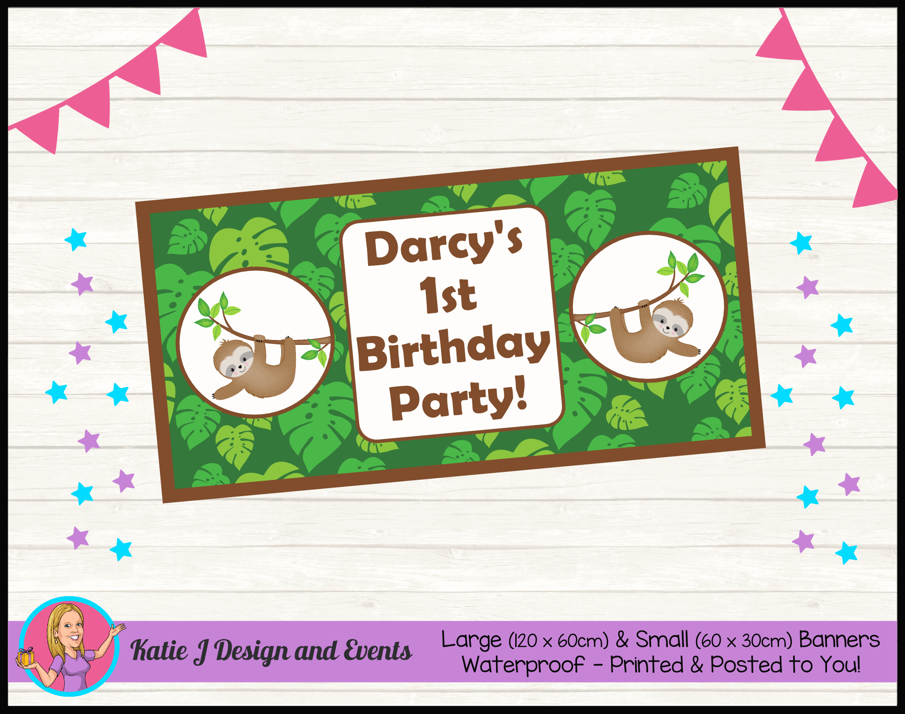 Personalised Jungle Sloth Party Packs Decorations Supplies