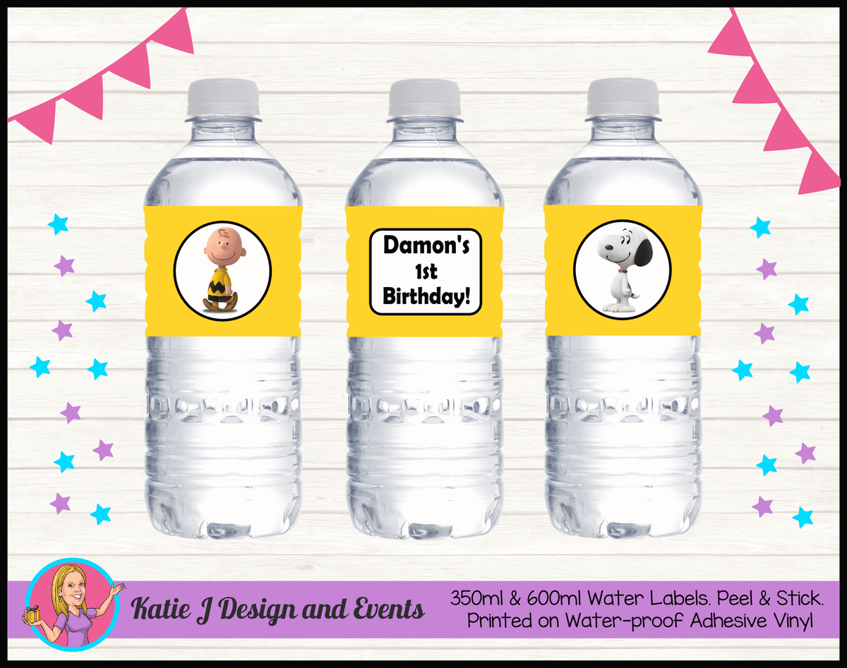 Personalised Snoopy Birthday Water Labels