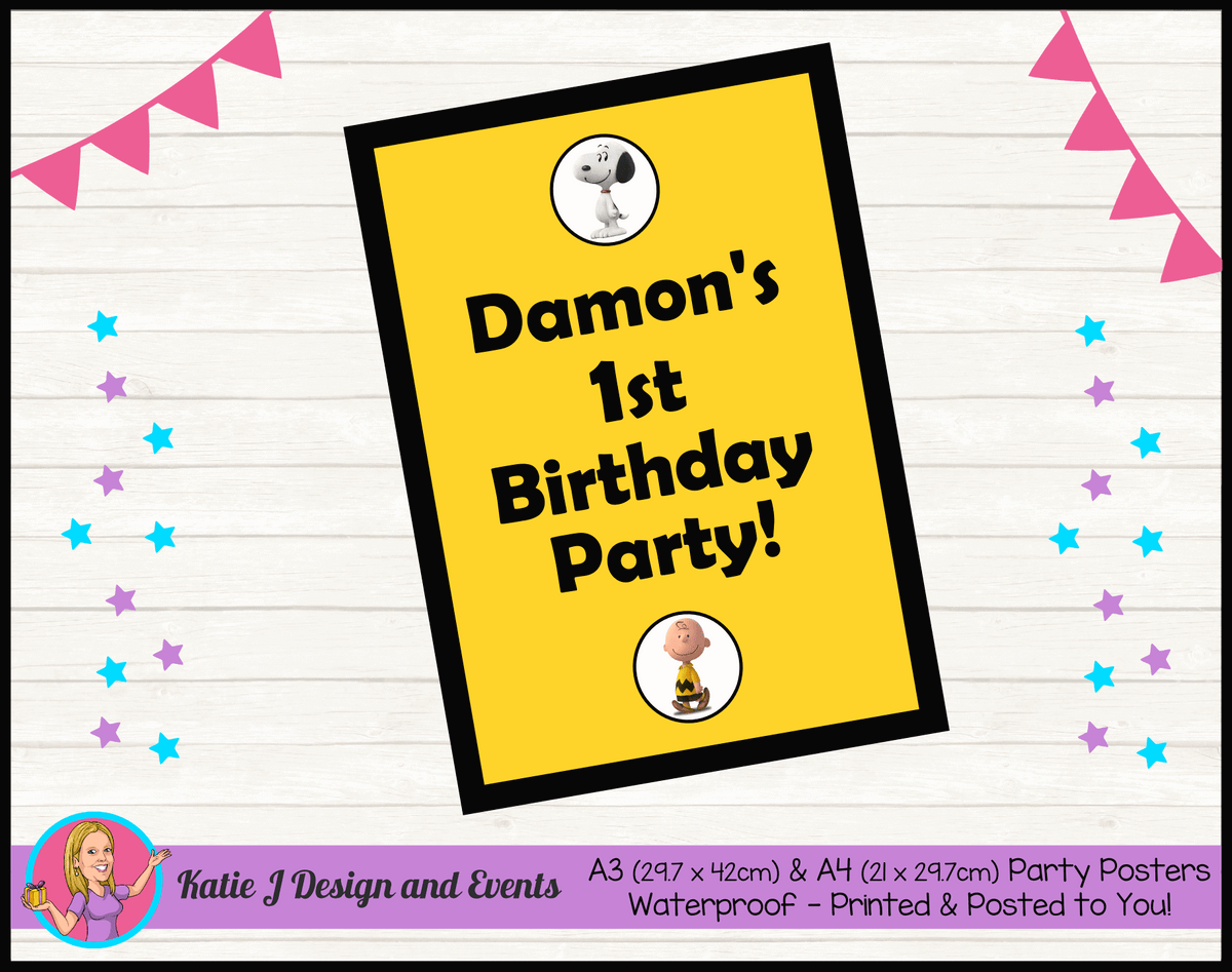 Personalised Snoopy Birthday Party Poster