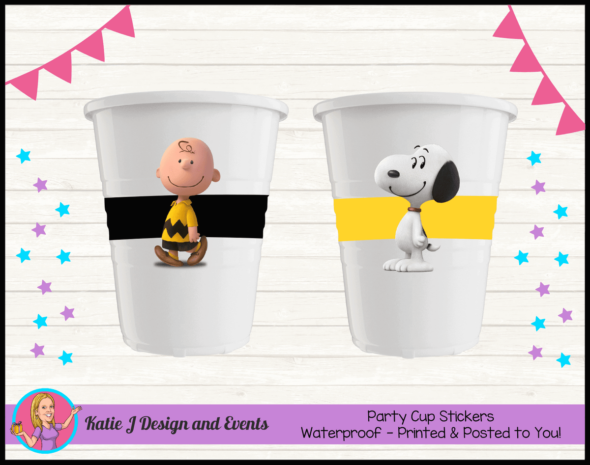 Personalised Snoopy Party Cup Stickers Cups