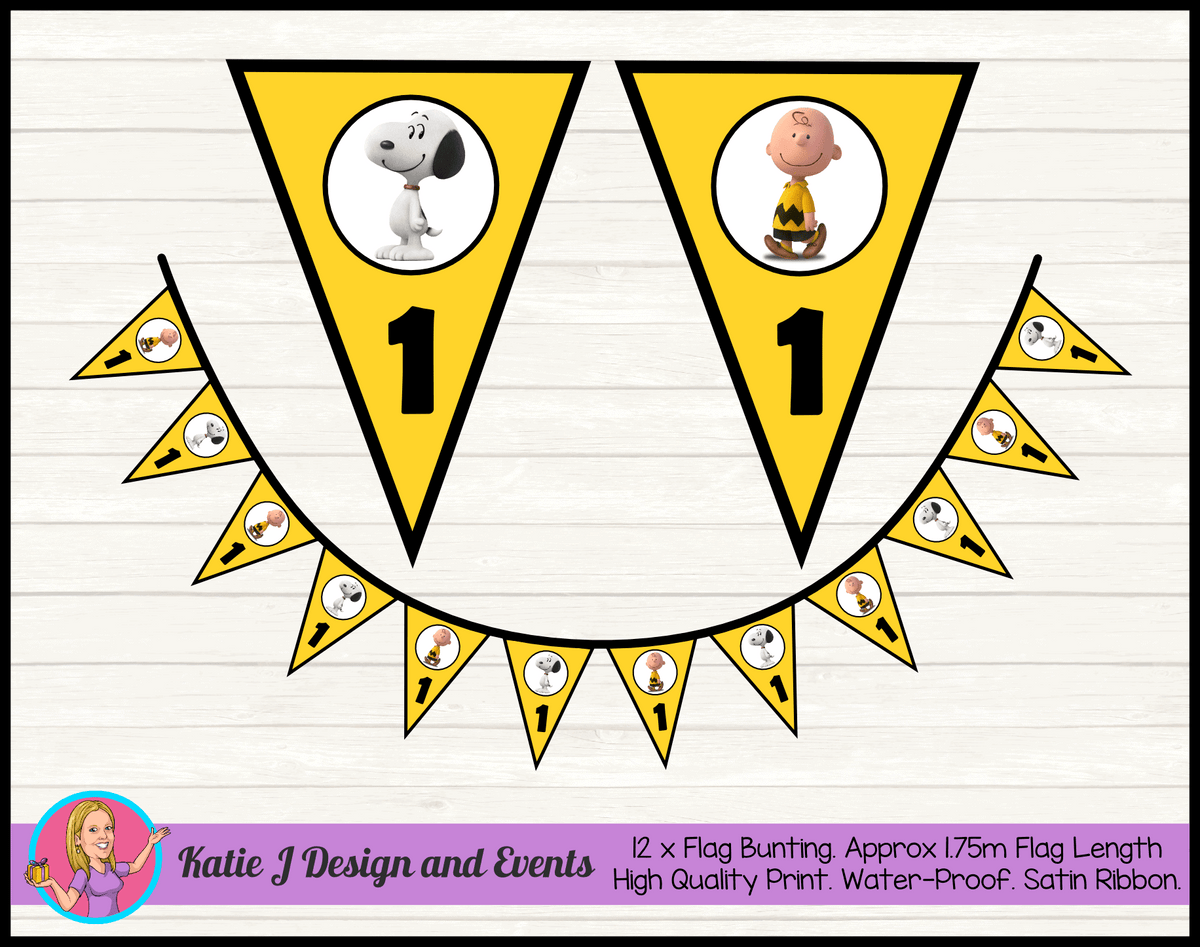 Personalised Snoopy Birthday Party Flag Bunting