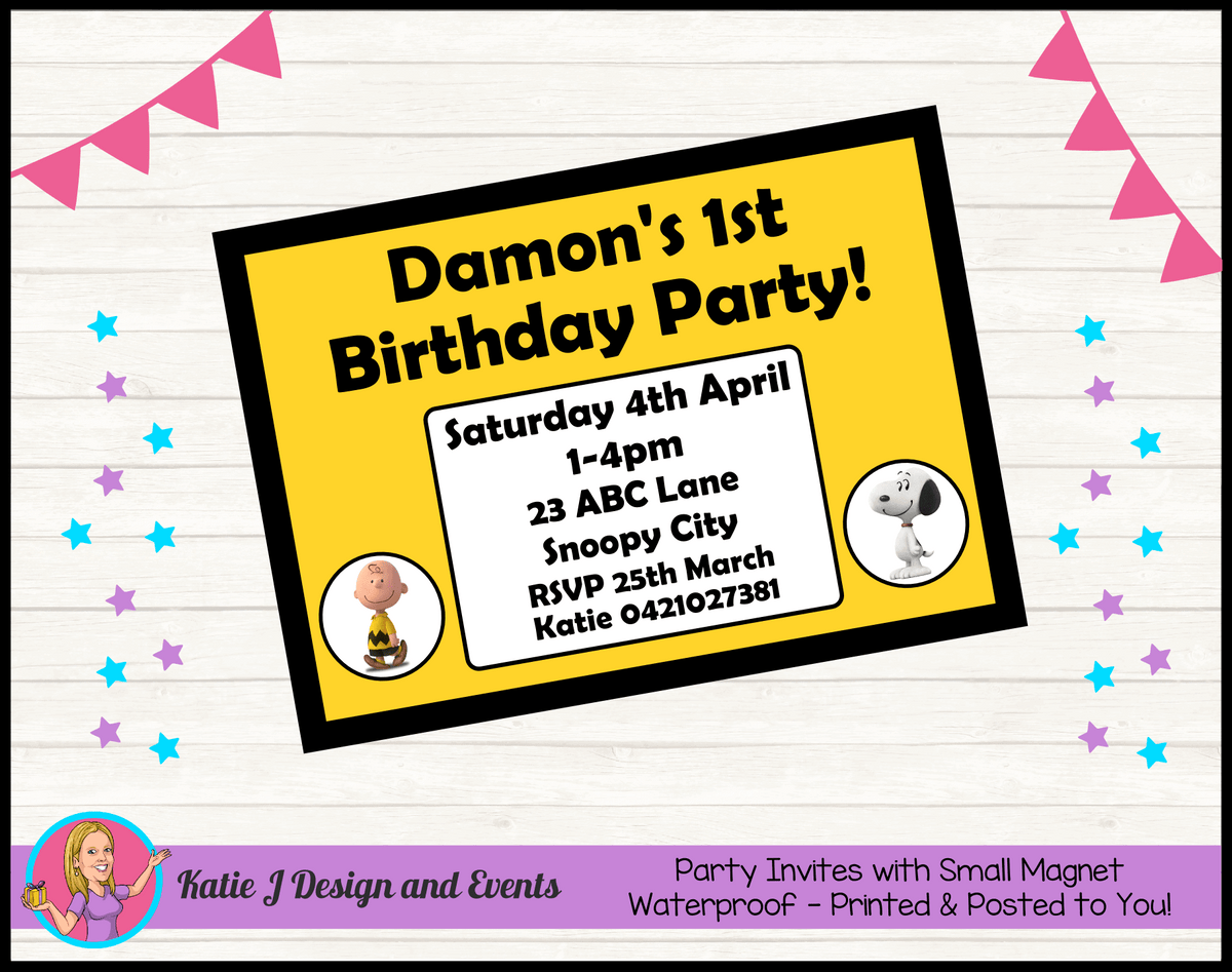 Personalised Snoopy Birthday Party Invites Invitations