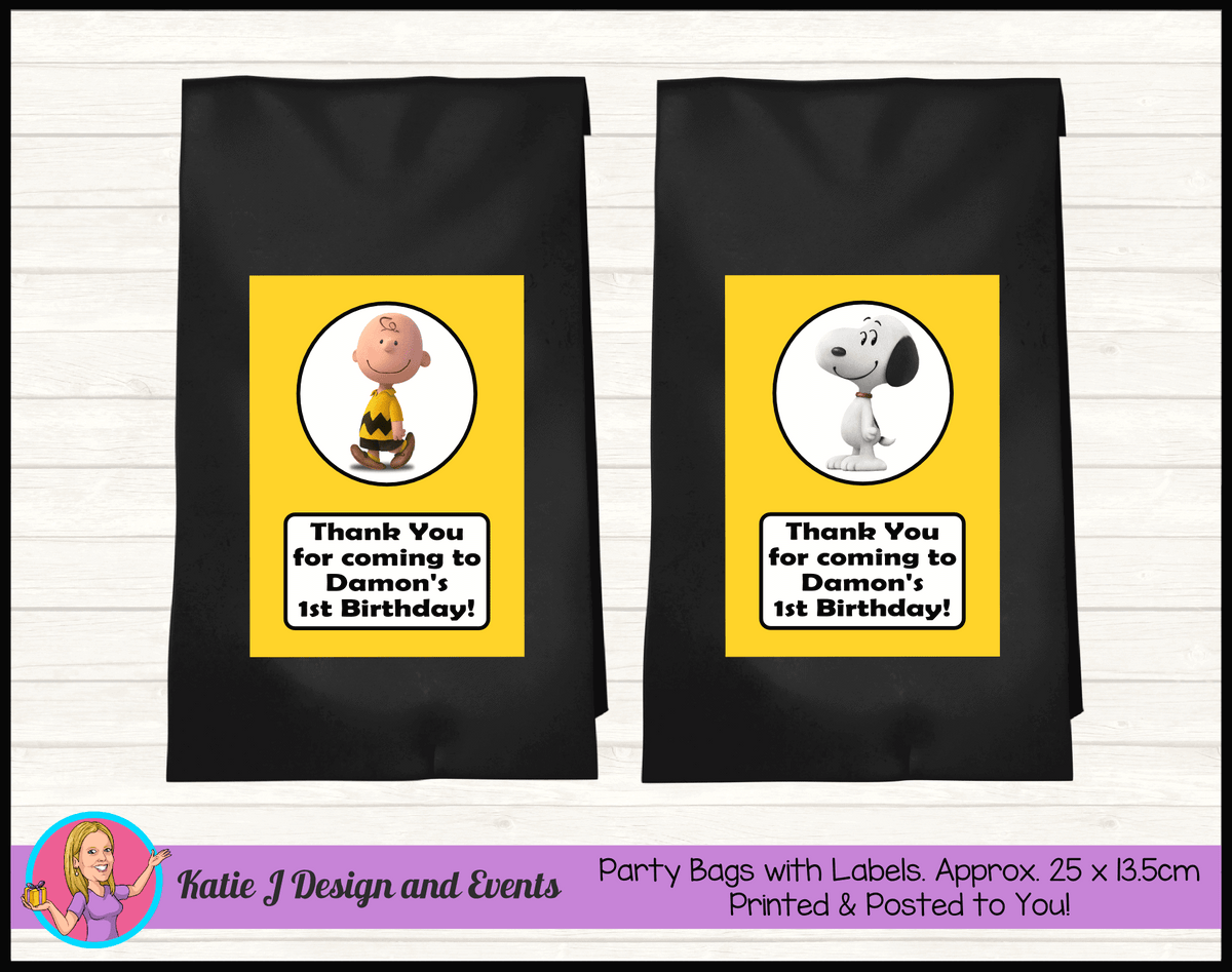 Personalised Snoopy Birthday Party Loot Bags