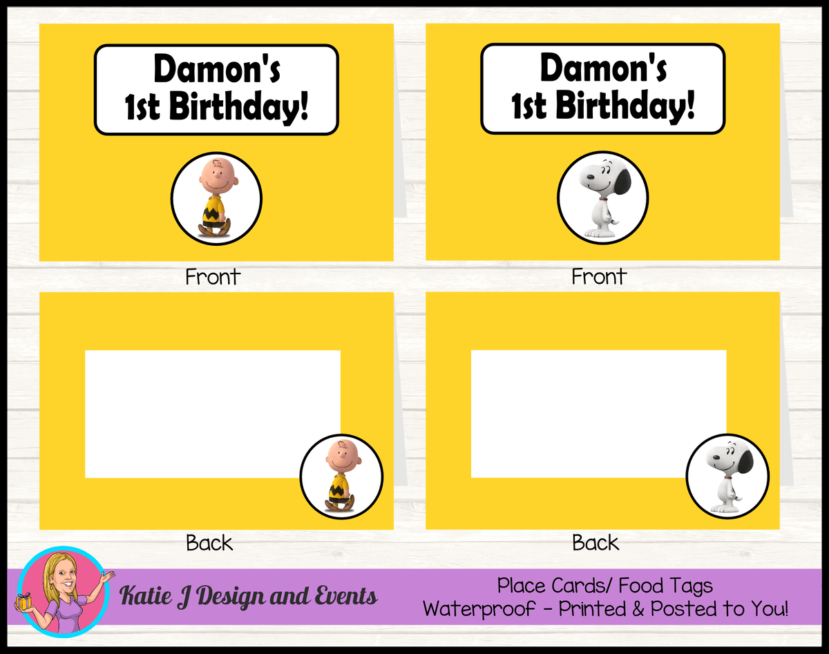 Personalised Snoopy Birthday Party Place Cards
