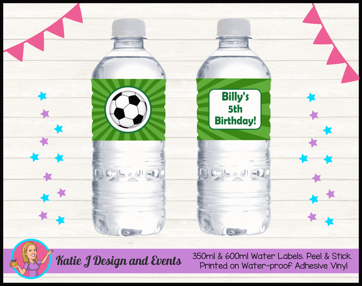 Personalised Soccer Birthday Party Water Labels