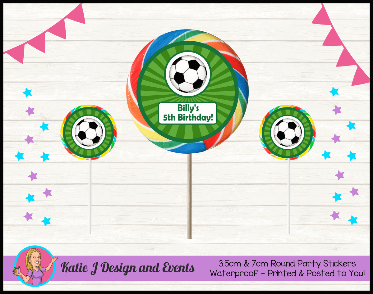 Personalised Soccer Round Lollipop Stickers