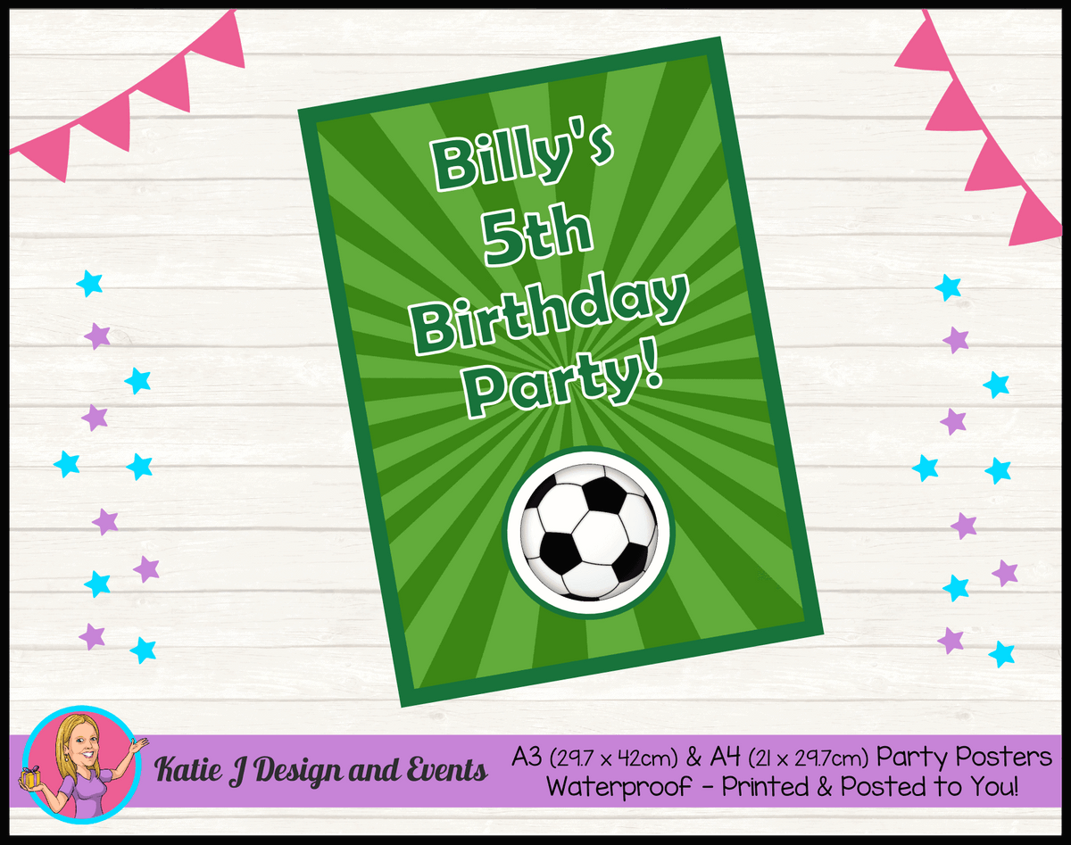 Personalised Soccer Birthday Party Poster