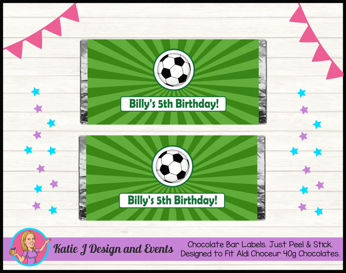Personalised Soccer Birthday Chocolate Labels Wrappers
