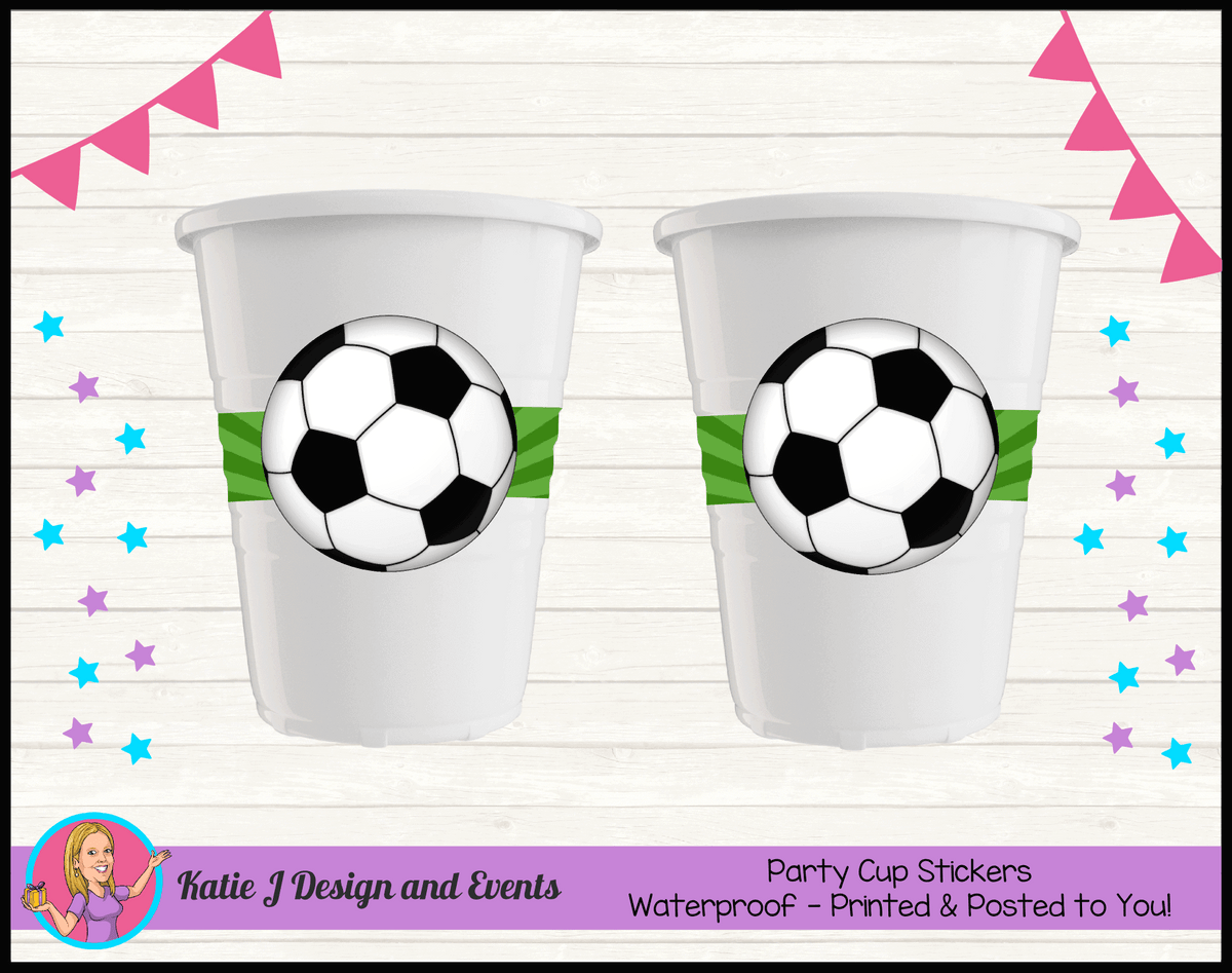 Personalised Soccer Party Cup Stickers Cups