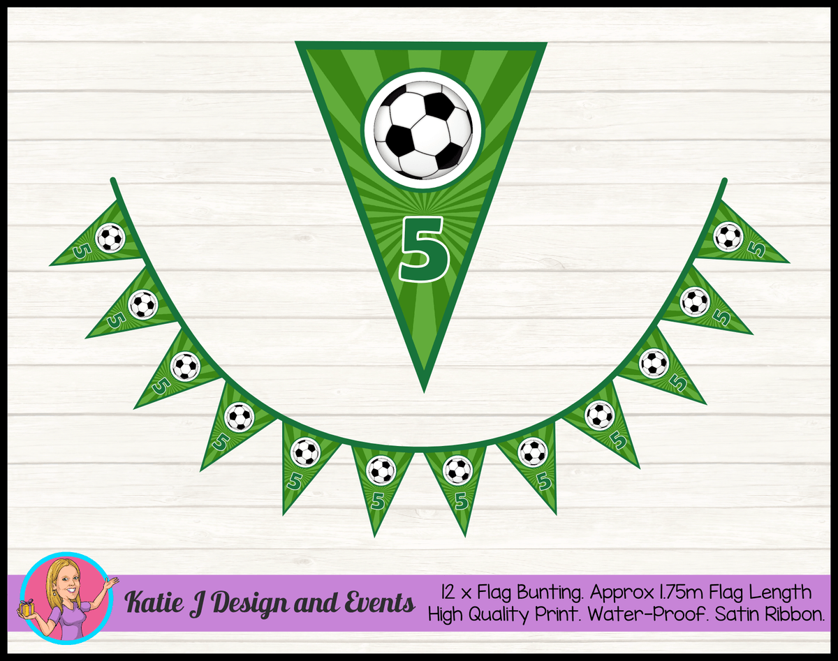 Personalised Soccer Birthday Party Flag Bunting