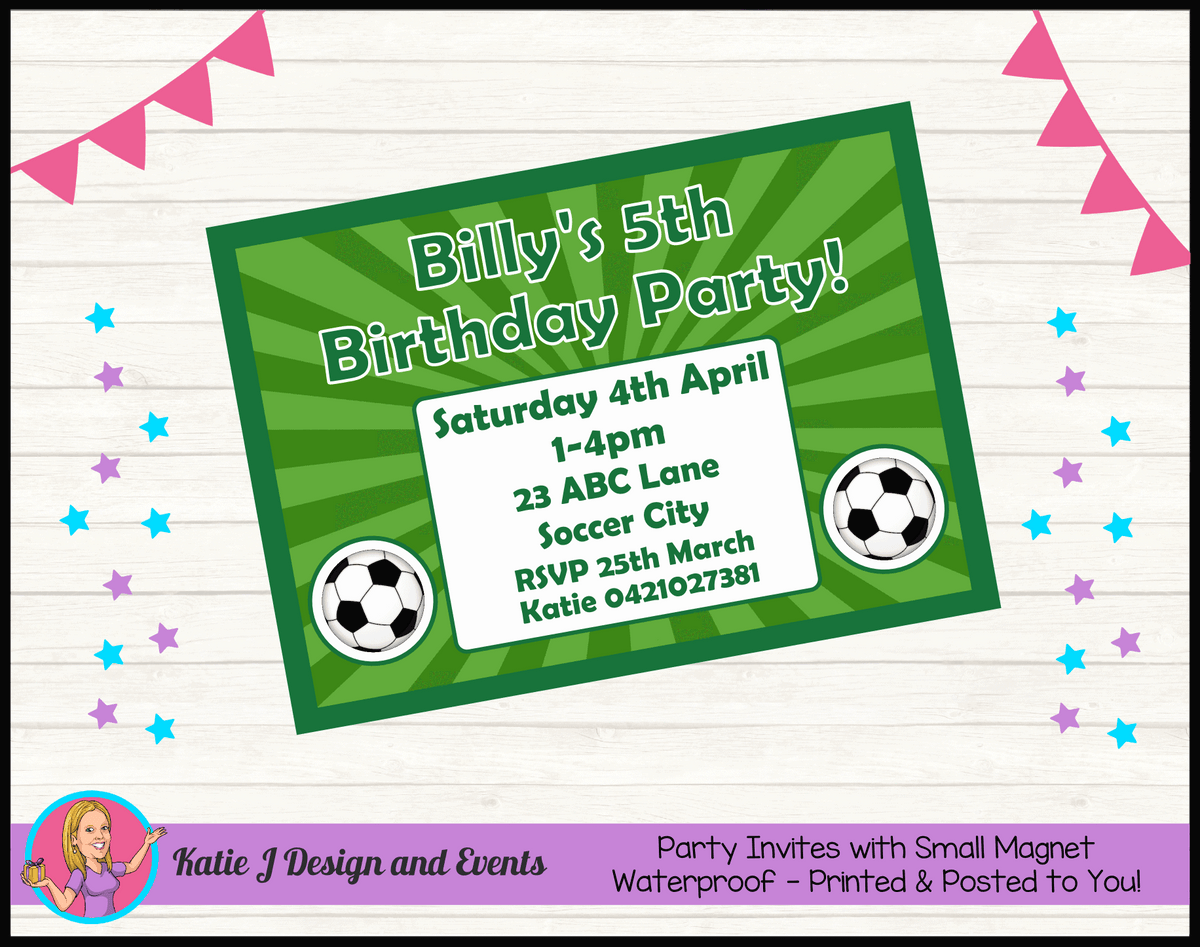 Personalised Soccer Birthday Party Invites Invitations