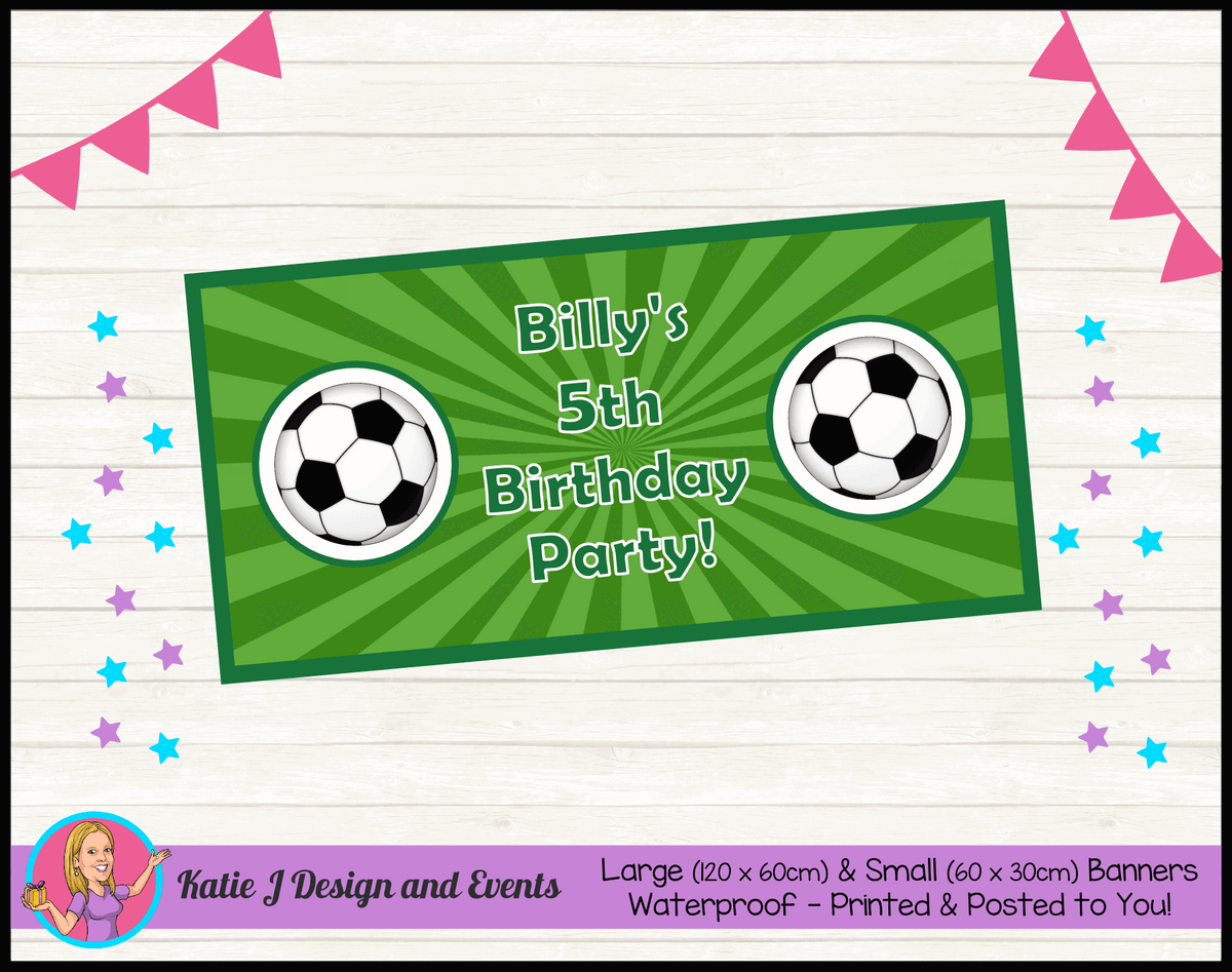 Personalised Soccer Birthday Party Banner