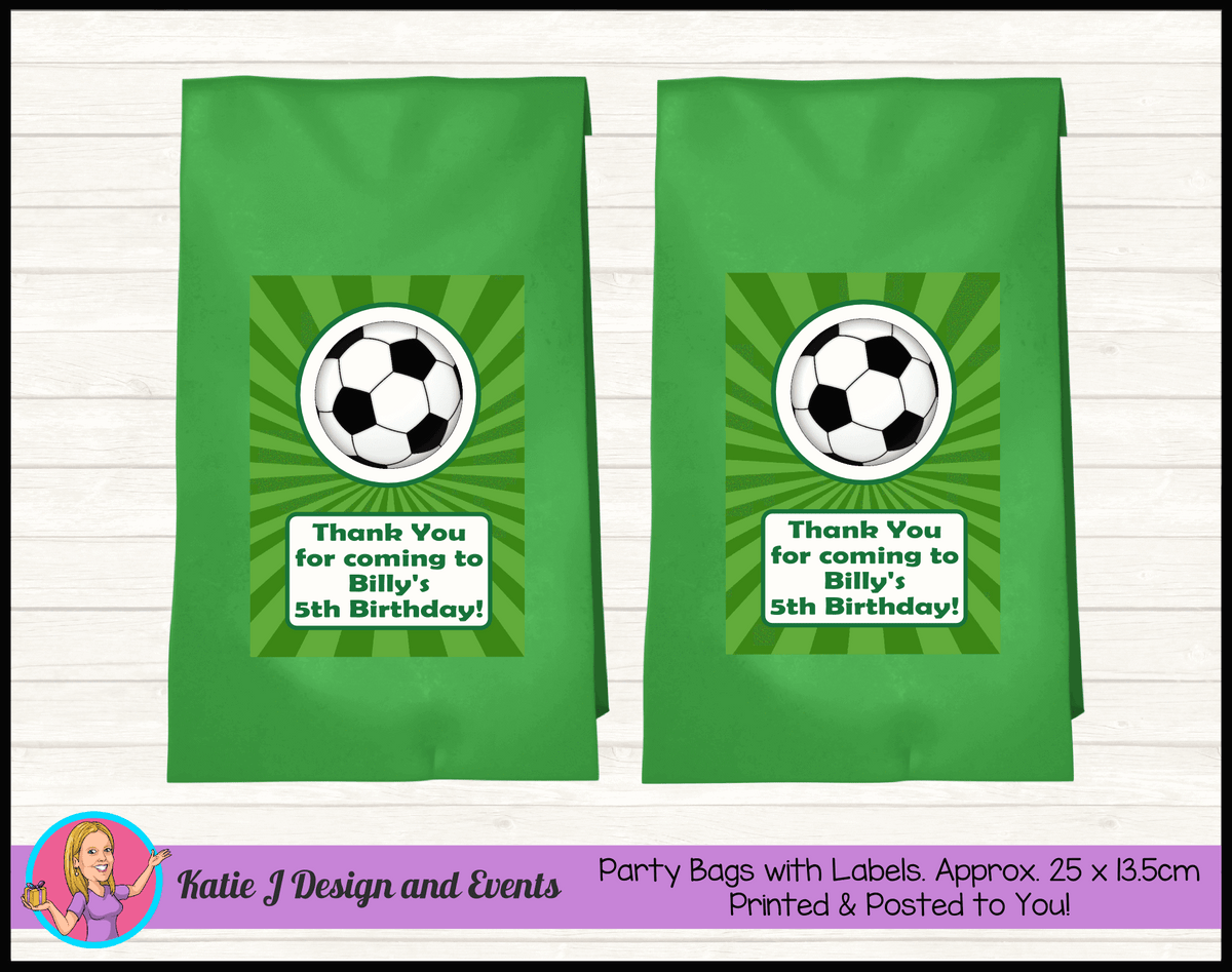 Personalised Soccer Birthday Party Loot Bags