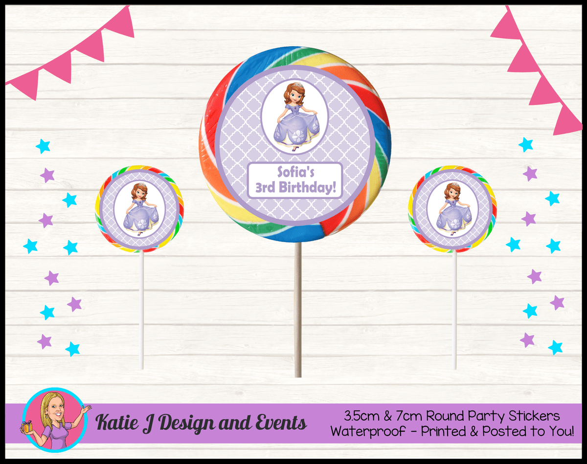 Personalised Sofia the First Round Lollipop Stickers
