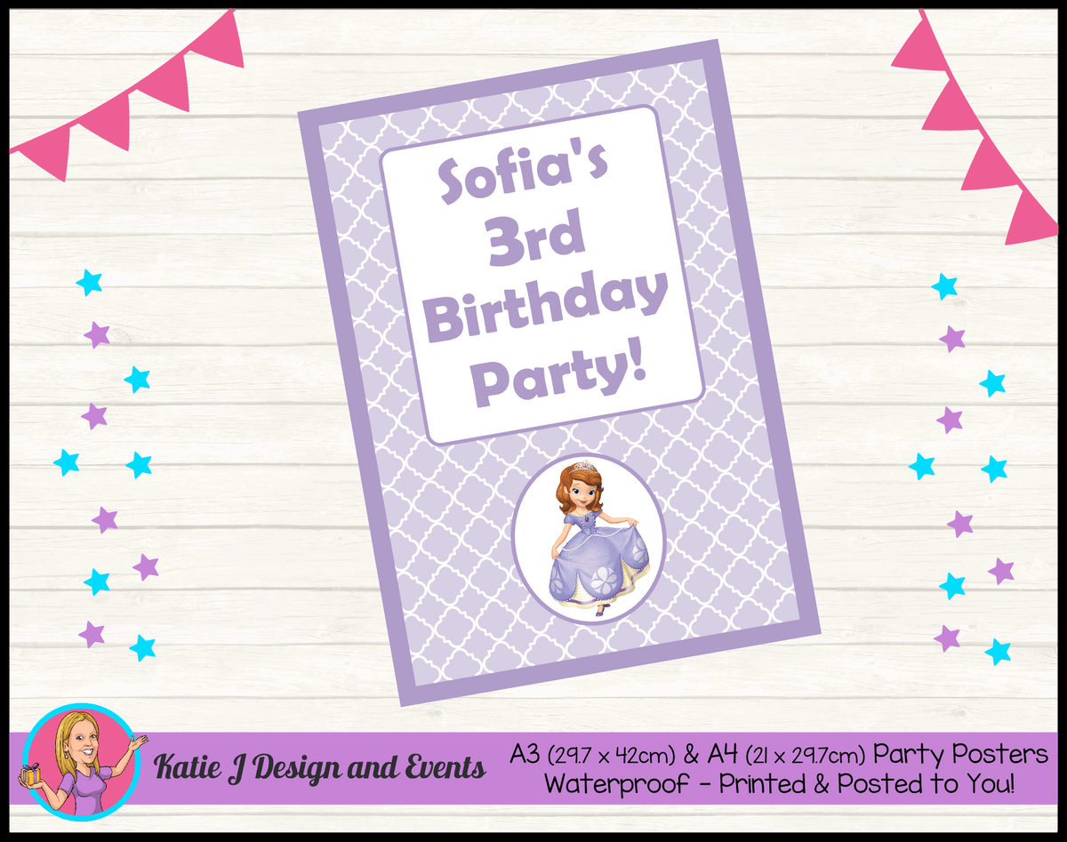 Personalised Sofia the First Birthday Party Poster