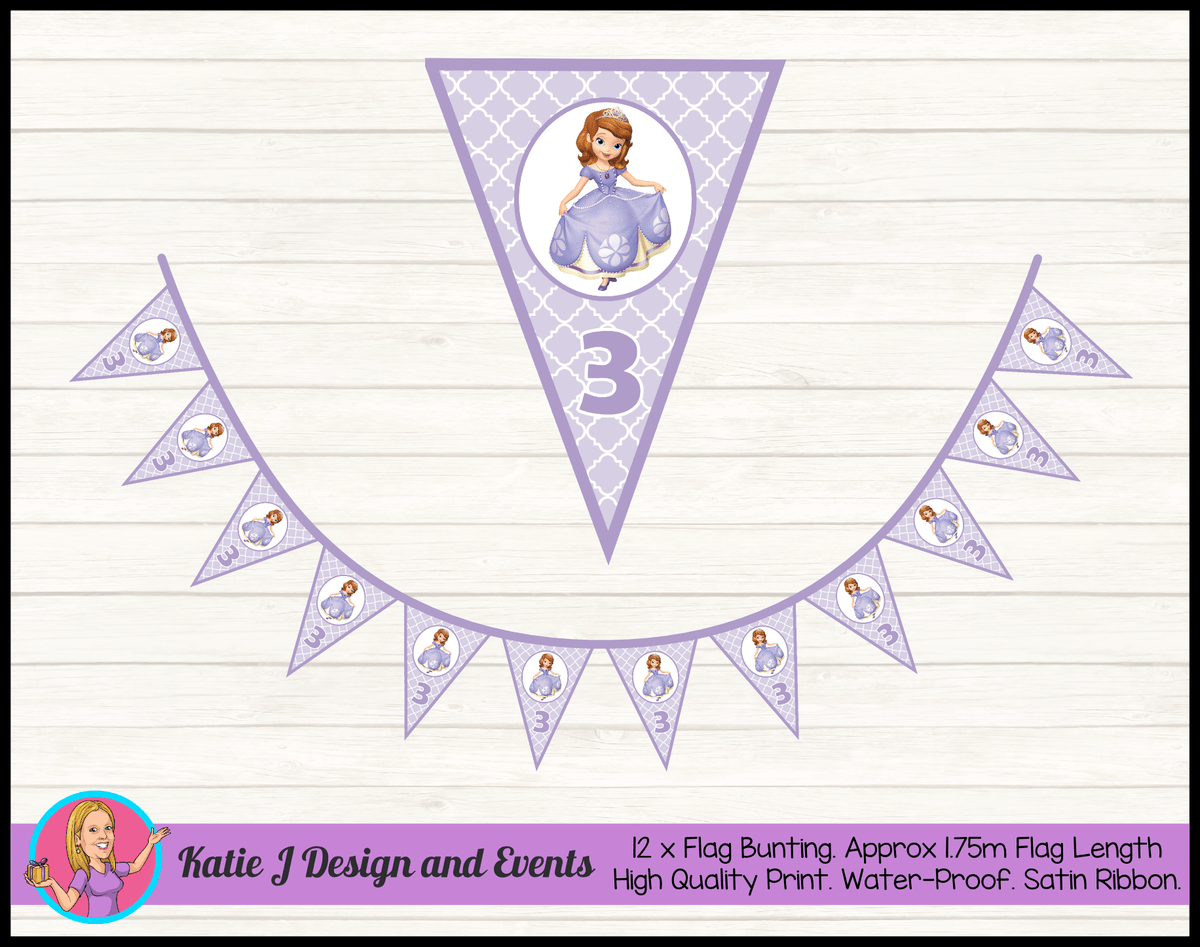 Personalised Sofia the First Birthday Party Flag Bunting