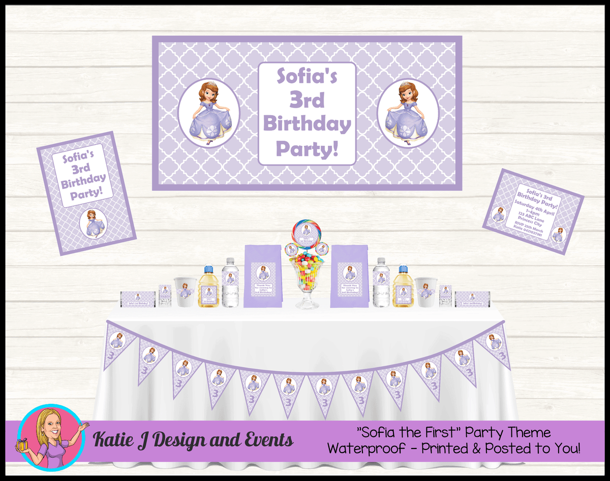 Personalised Sofia the First Party Packs Decorations Supplies