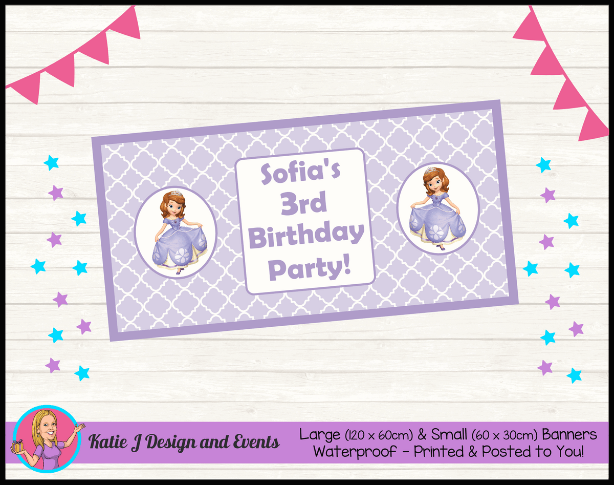 Personalised Sofia the First Birthday Party Banner