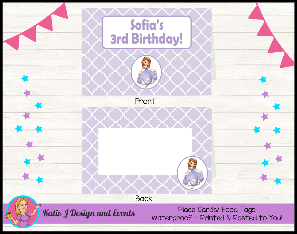 Personalised Sofia the First Birthday Party Place Cards