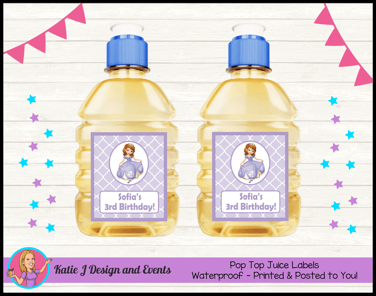 Personalised Sofia the First Birthday Party Pop Top Juice Labels