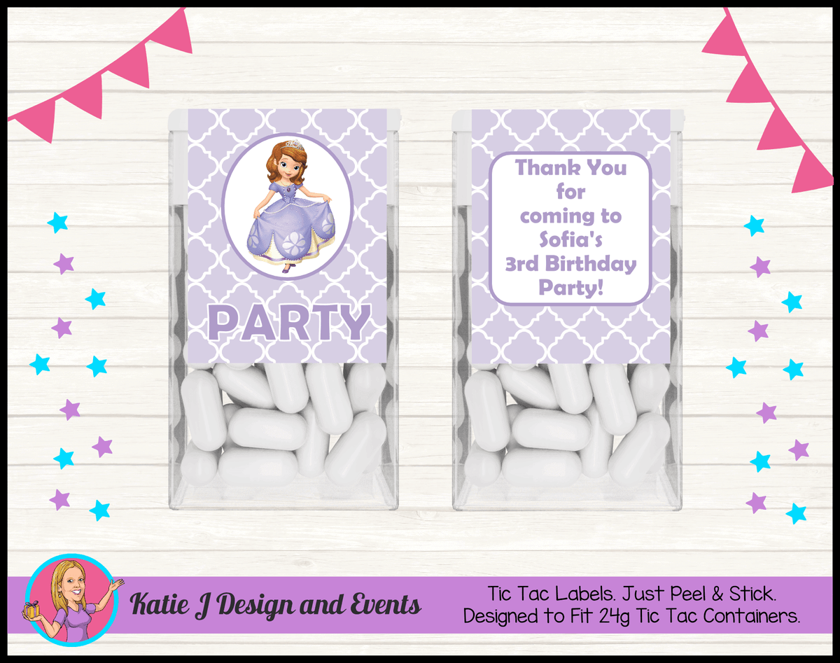 Personalised Sofia the First Tic Tac Mint Labels