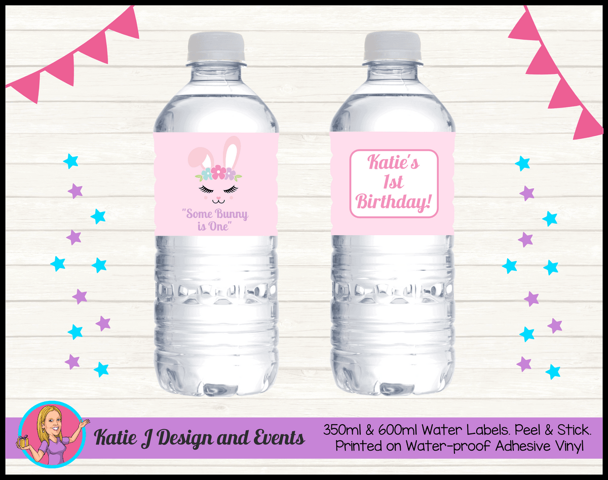Personalised Some Bunny is One Birthday Water Labels