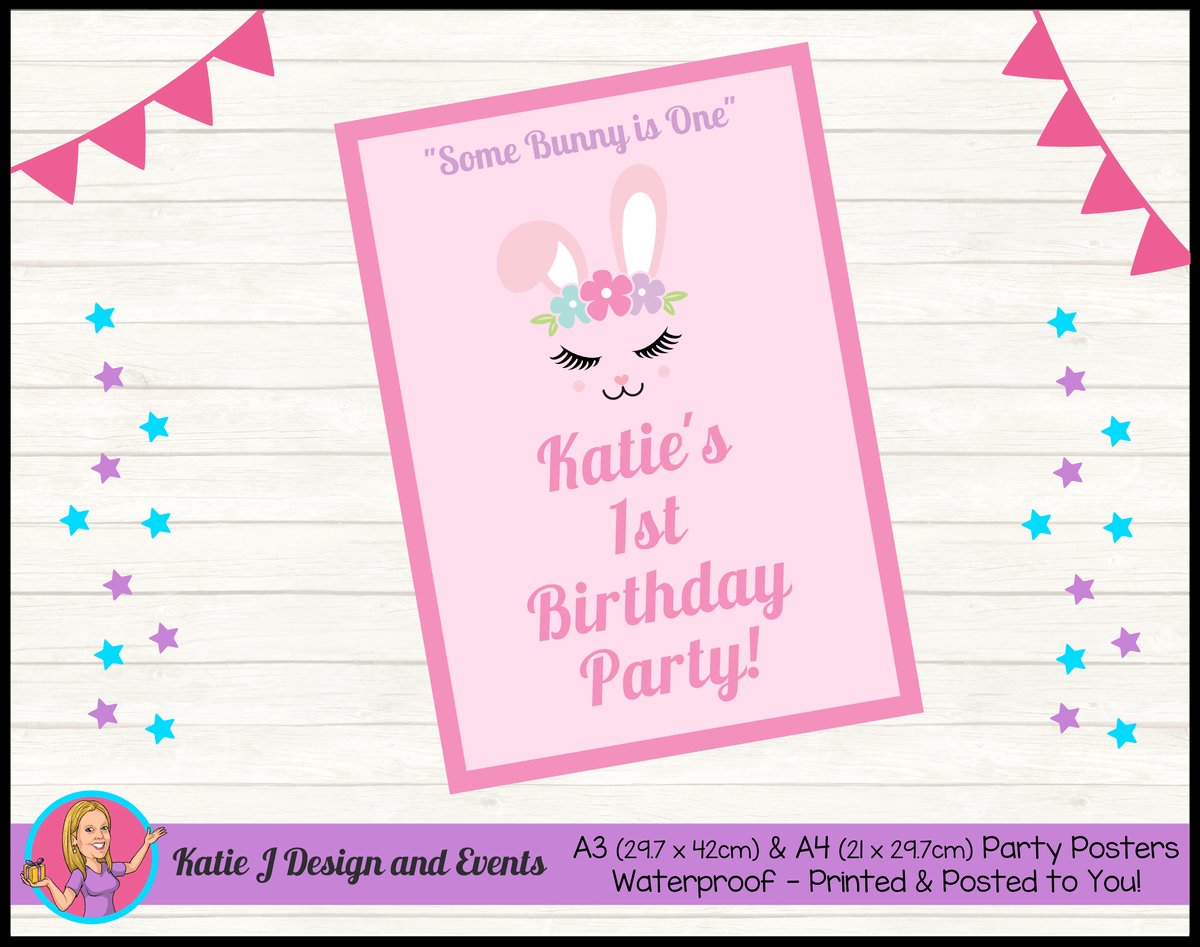 Personalised Some Bunny is One Birthday Party Poster