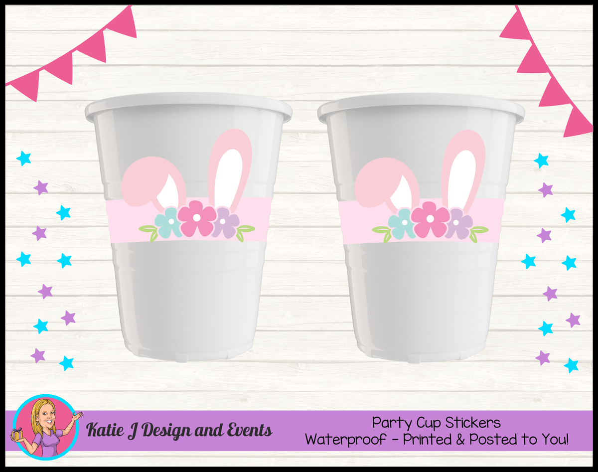 Personalised Some Bunny is One Party Cup Stickers Cups