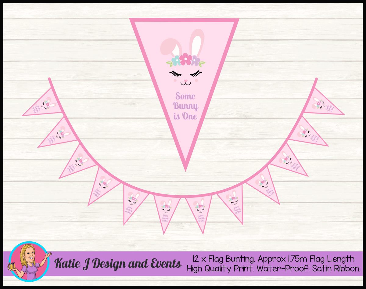 Personalised Some Bunny is One Birthday Party Flag Bunting