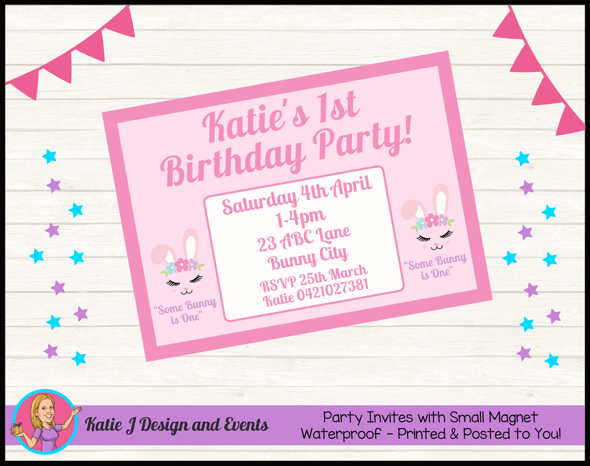 Personalised Some Bunny is One Birthday Party Invites Invitations