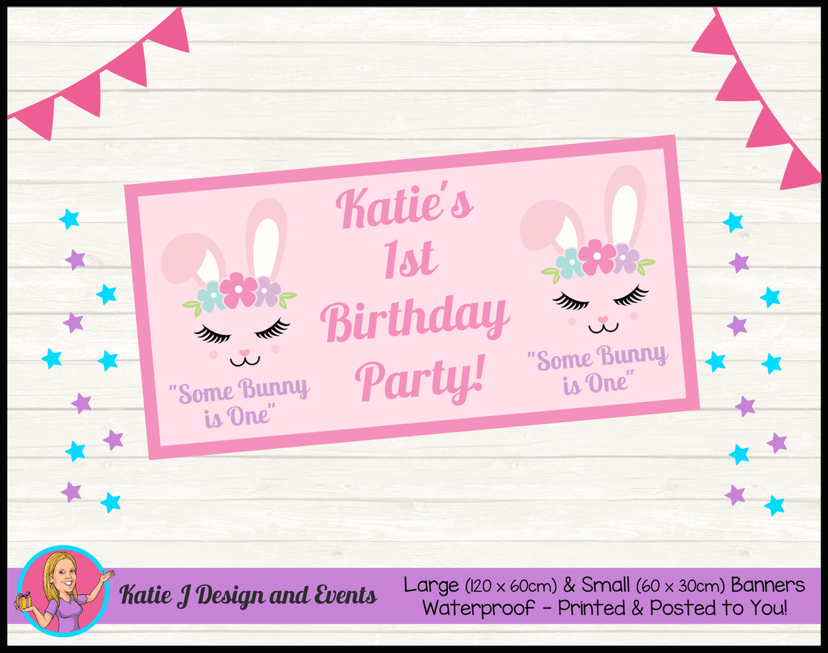 Personalised Some Bunny is One Birthday Party Banner