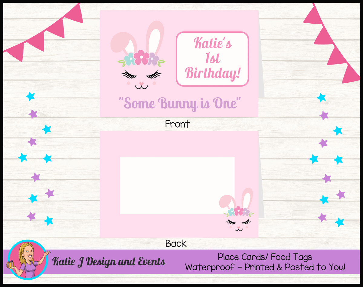Personalised Some Bunny is One Party Place Cards
