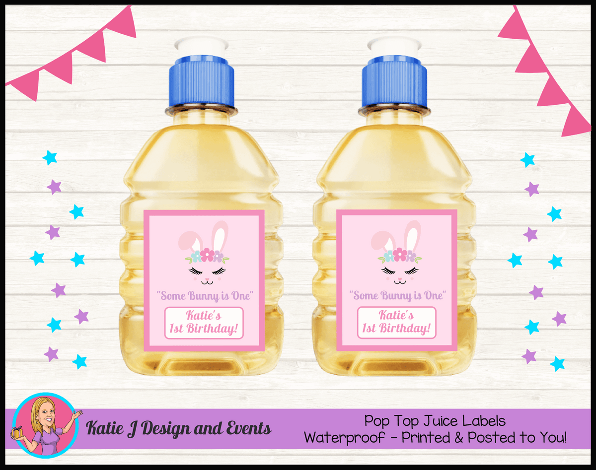 Personalised Some Bunny is One Pop Top Juice Labels