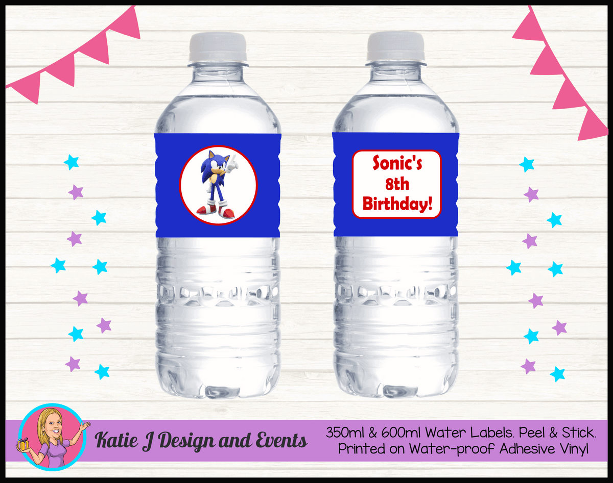 Personalised Sonic the Hedgehog Birthday Water labels